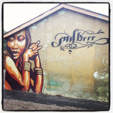 Brenda Fassie pictured on the wall of a house on Bunga Avenue Langa
