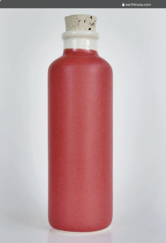 reference image for a clay water bottle with cork stopper